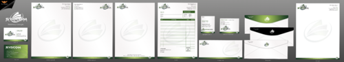 business card, letterhead, envelopes, email signature,memo pad and invoice/quotes