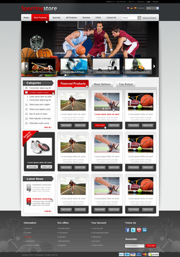Basic web 2.0 type of theme for small to medium-sized sports goods retailers.