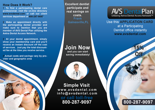 Tri-fold discount dental plan brochure Marketing collateral  Draft # 12 by aks231091