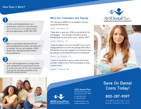 Tri-fold discount dental plan brochure