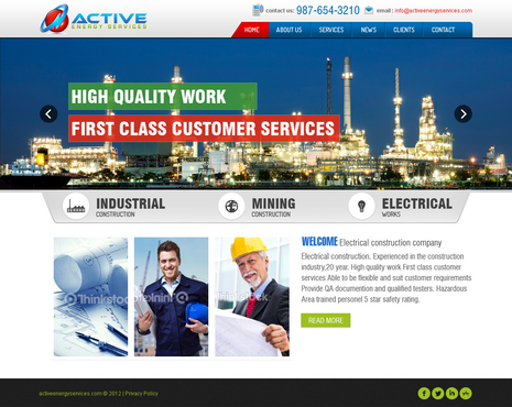 Industrial Construction, mining construction, Electrical works  Complete Web Design Solution  Draft # 8 by timefortheweb
