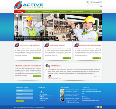 Industrial Construction, mining construction, Electrical works  Complete Web Design Solution  Draft # 17 by designwheelcube