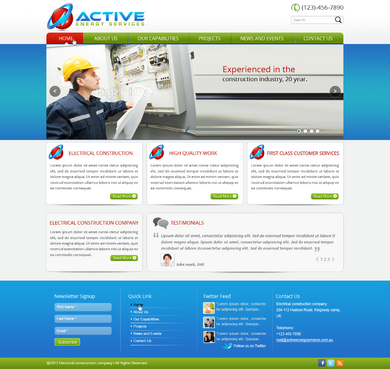 Industrial Construction, mining construction, Electrical works  Complete Web Design Solution  Draft # 18 by designwheelcube
