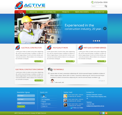 Industrial Construction, mining construction, Electrical works  Complete Web Design Solution  Draft # 19 by designwheelcube