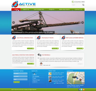 Industrial Construction, mining construction, Electrical works  Complete Web Design Solution  Draft # 28 by designwheelcube