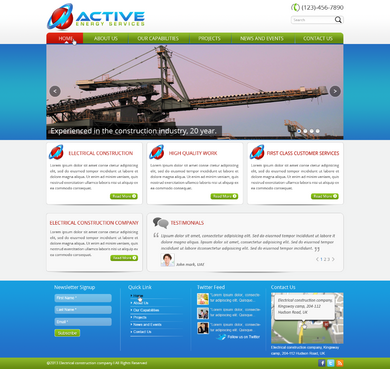 Industrial Construction, mining construction, Electrical works  Complete Web Design Solution  Draft # 31 by designwheelcube