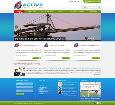 Industrial Construction, mining construction, Electrical works  Complete Web Design Solution  Draft # 52 by designwheelcube