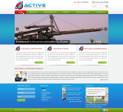Industrial Construction, mining construction, Electrical works  Complete Web Design Solution  Draft # 55 by designwheelcube