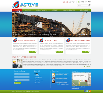 Industrial Construction, mining construction, Electrical works  Complete Web Design Solution  Draft # 61 by designwheelcube