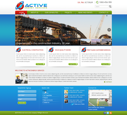 Industrial Construction, mining construction, Electrical works  Complete Web Design Solution  Draft # 62 by designwheelcube