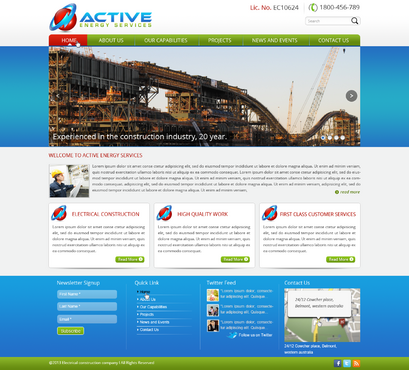 Industrial Construction, mining construction, Electrical works  Complete Web Design Solution  Draft # 75 by designwheelcube