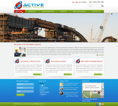 Industrial Construction, mining construction, Electrical works  Complete Web Design Solution  Draft # 89 by designwheelcube