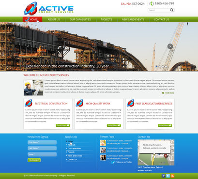 Industrial Construction, mining construction, Electrical works  Complete Web Design Solution  Draft # 90 by designwheelcube