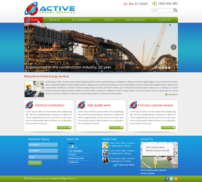 Industrial Construction, mining construction, Electrical works  Complete Web Design Solution  Draft # 92 by designwheelcube