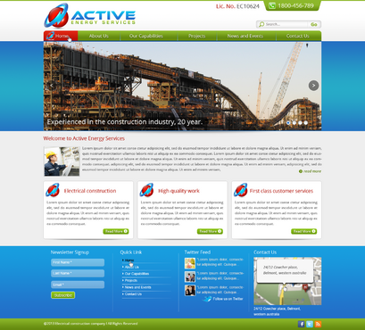 Industrial Construction, mining construction, Electrical works  Complete Web Design Solution  Draft # 94 by designwheelcube