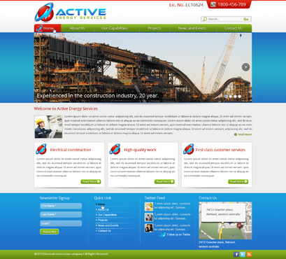 Industrial Construction, mining construction, Electrical works  Complete Web Design Solution  Draft # 106 by designwheelcube