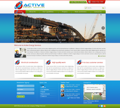 Industrial Construction, mining construction, Electrical works  Complete Web Design Solution  Draft # 107 by designwheelcube