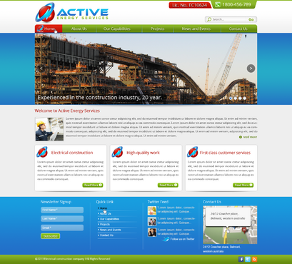 Industrial Construction, mining construction, Electrical works  Complete Web Design Solution  Draft # 108 by designwheelcube