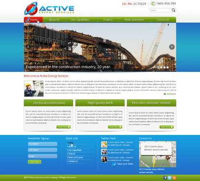 Industrial Construction, mining construction, Electrical works  Complete Web Design Solution  Draft # 111 by designwheelcube
