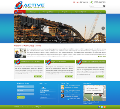 Industrial Construction, mining construction, Electrical works  Complete Web Design Solution  Draft # 115 by designwheelcube