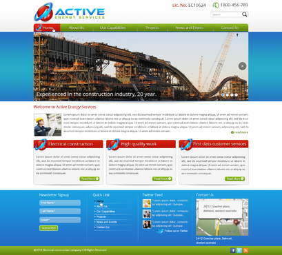 Industrial Construction, mining construction, Electrical works  Complete Web Design Solution  Draft # 116 by designwheelcube