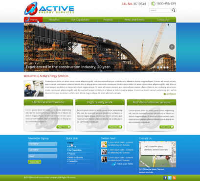Industrial Construction, mining construction, Electrical works  Complete Web Design Solution  Draft # 124 by designwheelcube