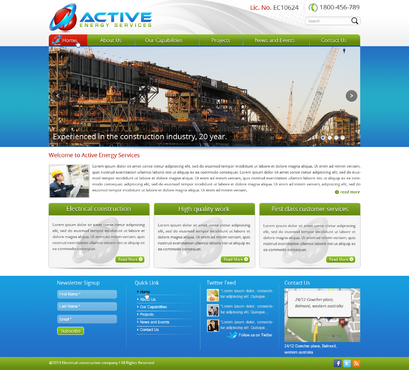 Industrial Construction, mining construction, Electrical works  Complete Web Design Solution  Draft # 125 by designwheelcube