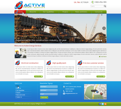 Industrial Construction, mining construction, Electrical works  Complete Web Design Solution  Draft # 144 by designwheelcube