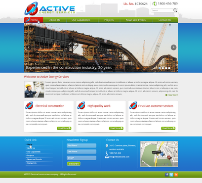 Industrial Construction, mining construction, Electrical works  Complete Web Design Solution  Draft # 153 by designwheelcube
