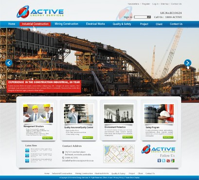 Industrial Construction, mining construction, Electrical works  Complete Web Design Solution  Draft # 207 by syukurkurnia