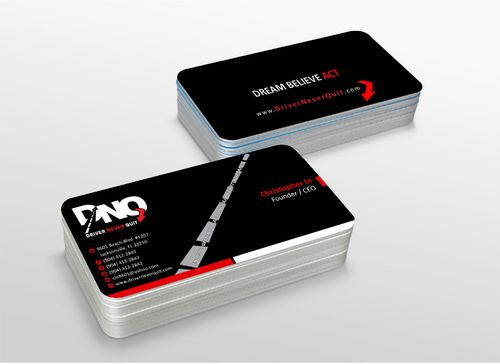 DRIVER NEVER QUIT / DREAM - BELIEVE - ACT Business Cards and Stationery  Draft # 206 by xtremecreative3