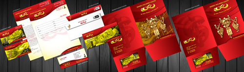 business cards, letter head, envelopes, brochure and letter size folders)