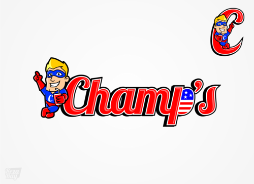 "the word ""Champ's"" and an image for branding"