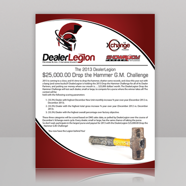 "The DealerLegion 2013 $25,000.00 ""Drop the Hammer"" G.M. Challenge Marketing collateral  Draft # 3 by monski"