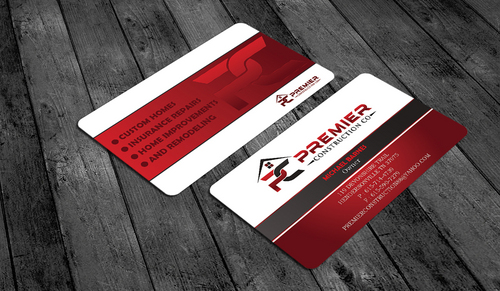 PREMIER CONSTRUCTION CO Business Cards and Stationery  Draft # 64 by waterdropdesign