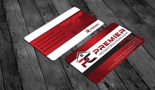 PREMIER CONSTRUCTION CO Business Cards and Stationery  Draft # 65 by waterdropdesign