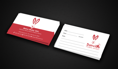 Danville Pediatric Dentistry, Monica Mosley DDS, American Board of Pediatric Dentistry Diplomate Business Cards and Stationery Winning Design by einsanimation