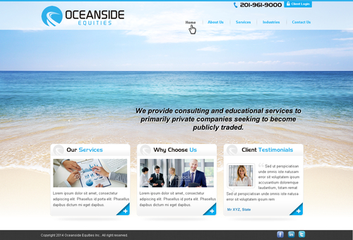 Oceanside Equities Inc.  Complete Web Design Solution  Draft # 1 by makeglow