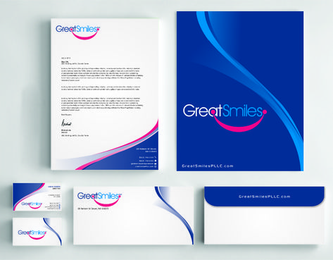 Great Smiles, PLLC Business Cards and Stationery  Draft # 241 by Dawson