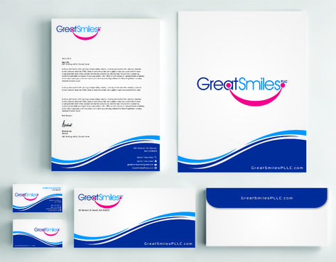 Great Smiles, PLLC Business Cards and Stationery  Draft # 243 by Dawson