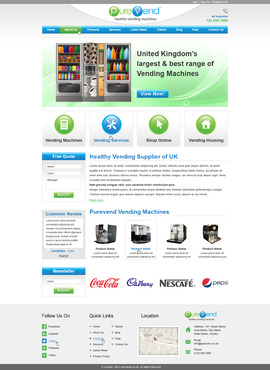 "Purevend ""healthy vending machines"" Complete Web Design Solution  Draft # 63 by prismitsolutions"