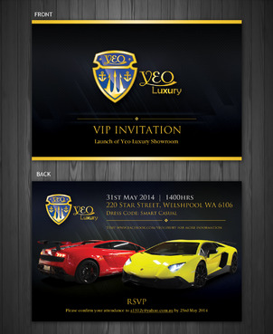 vip invitation card design for the opening day of a luxury car dealer. Black Bedroom Furniture Sets. Home Design Ideas