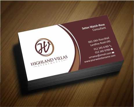 Highland Villas Apartments and Highland Villas Apartments - Independent Senior Living  Business Cards and Stationery  Draft # 275 by Dawson