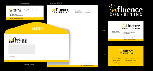 Influence Consulting Business Cards and Stationery  Draft # 1 by rooster