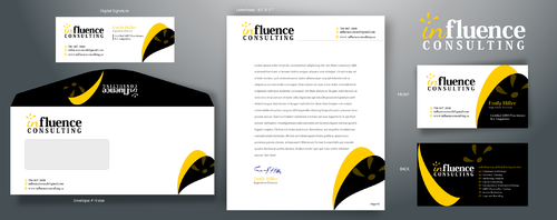 Influence Consulting Business Cards and Stationery  Draft # 118 by rooster
