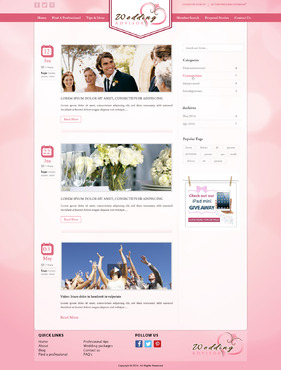 Blog for wedding website Blog Design Template Winning Design by pivotal