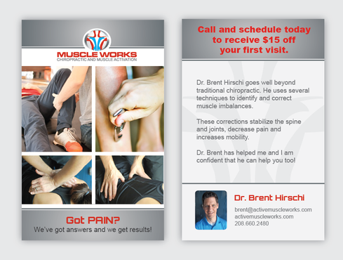 Muscle Works Marketing collateral Winning Design by Achiver