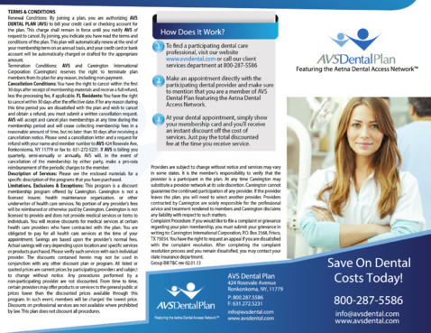 AVS Dental Plan Marketing collateral  Draft # 42 by ramazi