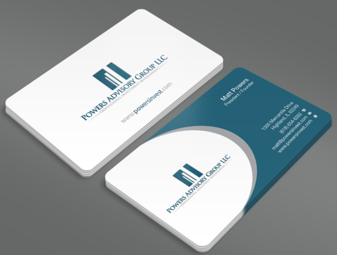 Powers Advisory Group LLC Business Cards and Stationery  Draft # 326 by waterdropdesign