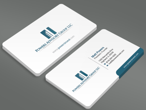 Powers Advisory Group LLC Business Cards and Stationery  Draft # 327 by waterdropdesign